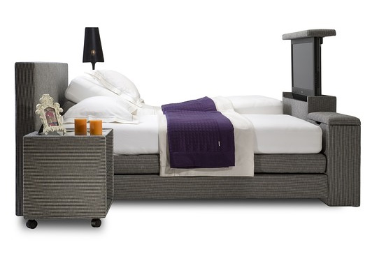 A Bed With A Pop Up Tv Bedding Chic