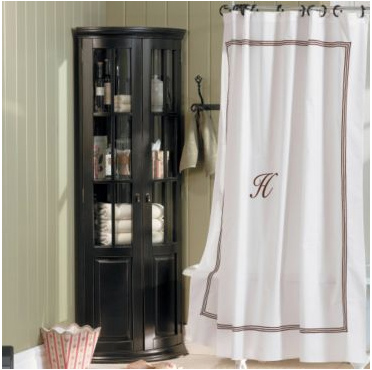 brown and white shower curtain.  Bedding Chic shower curtains